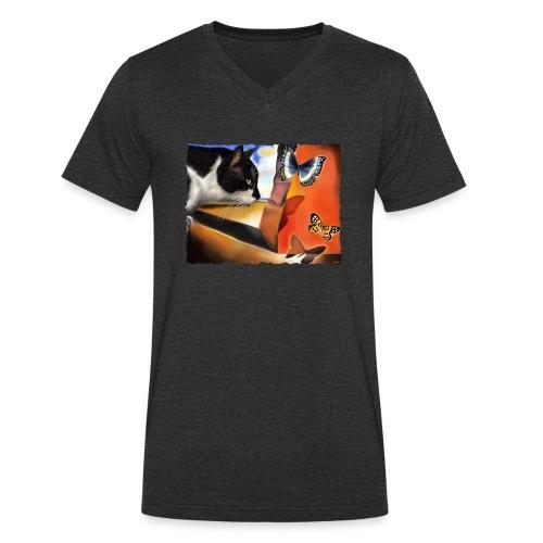 Il gatto di Dalí - T-shirt ecologica da uomo con scollo a V di Stanley & Stella