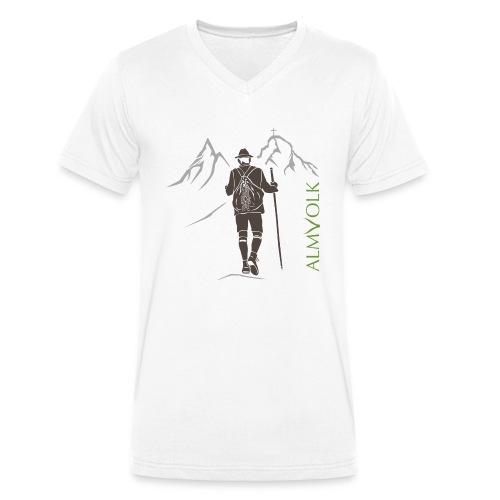 Herren-Shirt ALMVOLK Bergwanderer - Männer Bio-T-Shirt mit V-Ausschnitt von Stanley & Stella