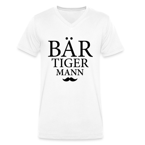 Bär-Tiger-Mann - Männer Bio-T-Shirt mit V-Ausschnitt von Stanley & Stella