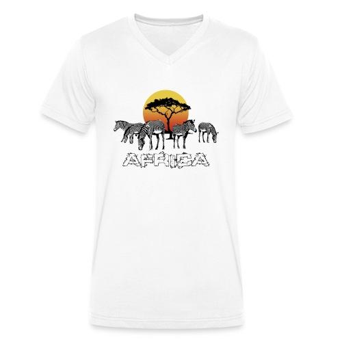 Zebras Afrika Wild Pferde Equus Serengeti Safari - Men's Organic V-Neck T-Shirt by Stanley & Stella