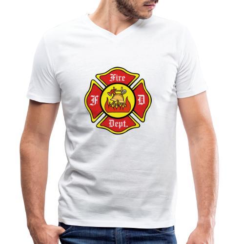 Feuerwehrschild-Fire-Dept - Männer Bio-T-Shirt mit V-Ausschnitt von Stanley & Stella