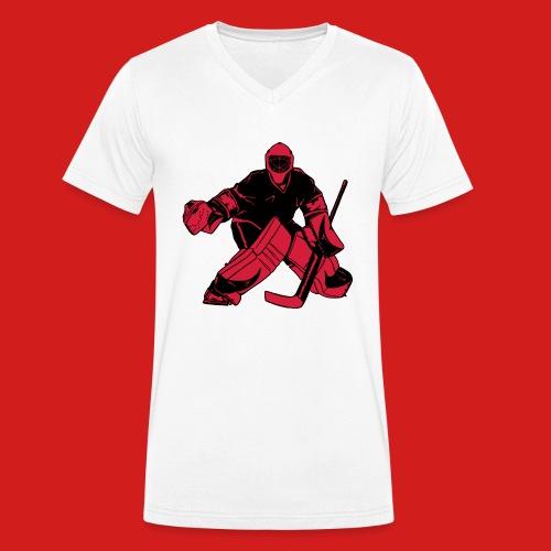 Goalie_Black_and_Red - Männer Bio-T-Shirt mit V-Ausschnitt von Stanley & Stella