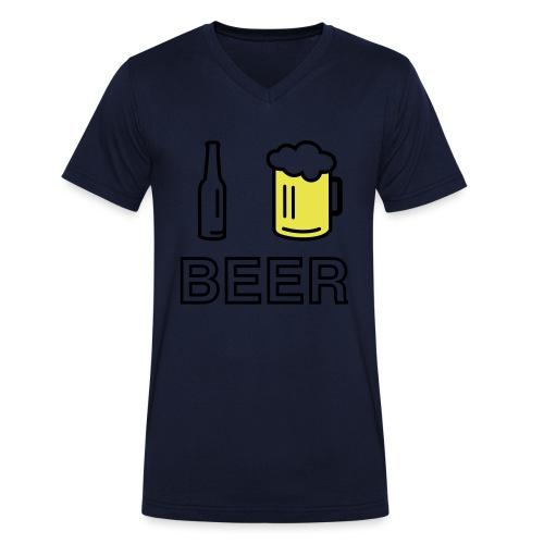 I Love Beer (2-farbig) - Männer Bio-T-Shirt mit V-Ausschnitt von Stanley & Stella