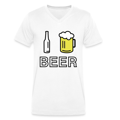 I Love Beer (3-farbig) - Männer Bio-T-Shirt mit V-Ausschnitt von Stanley & Stella
