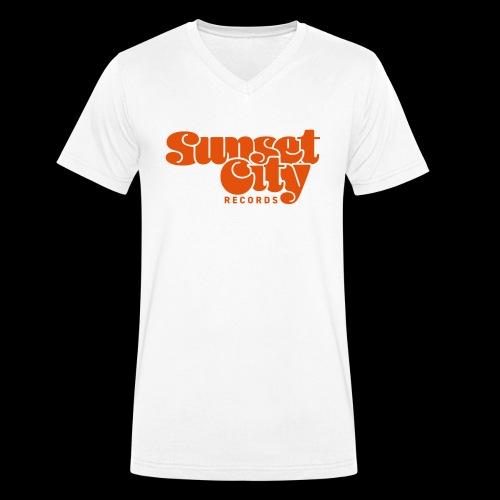 Sunset City Records Logo - Men's Organic V-Neck T-Shirt by Stanley & Stella