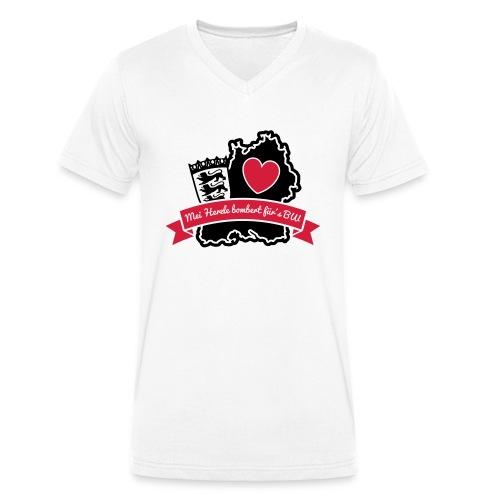 Herzle BW - Männer Bio-T-Shirt mit V-Ausschnitt von Stanley & Stella