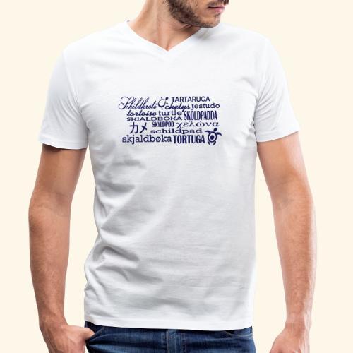 Schildkröte Sprachen Motiv - Männer Bio-T-Shirt mit V-Ausschnitt von Stanley & Stella
