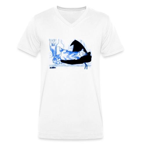 Tyrrin Hexenkater auf Hut (blau) - Männer Bio-T-Shirt mit V-Ausschnitt von Stanley & Stella