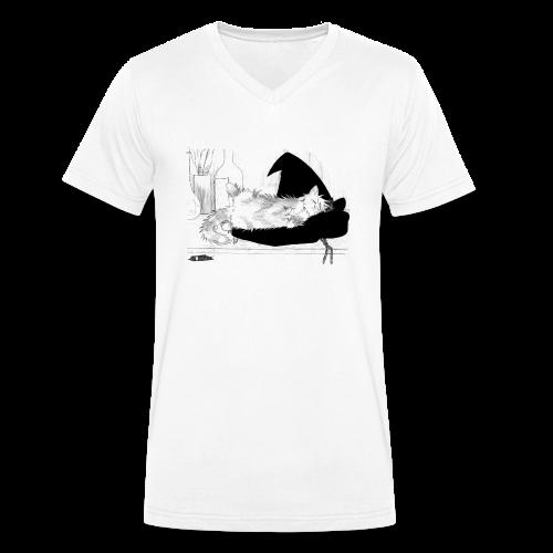 Tyrrin Hexenkater auf Hut (grau) - Männer Bio-T-Shirt mit V-Ausschnitt von Stanley & Stella