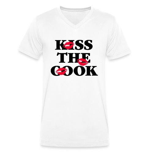 Kiss the Cook rote Lippen Kussmund Küchenchef heiß - Men's Organic V-Neck T-Shirt by Stanley & Stella