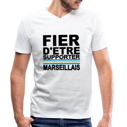 fier marseille noir 01 - T-shirt bio col V Stanley & Stella Homme