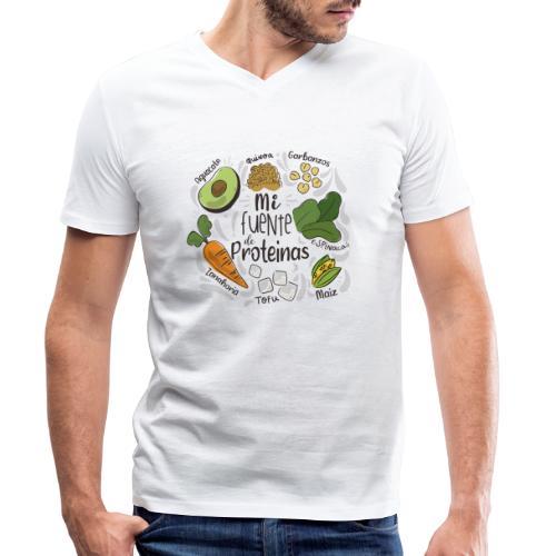 Mi fuente de proteinas - Camiseta ecológica hombre con cuello de pico de Stanley & Stella