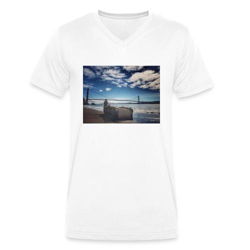 poncio - Camiseta ecológica hombre con cuello de pico de Stanley & Stella