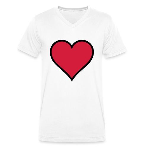 Outline Heart - Men's Organic V-Neck T-Shirt by Stanley & Stella