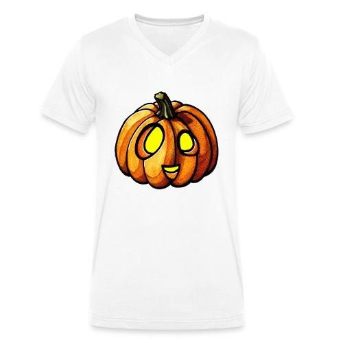 Pumpkin Halloween watercolor scribblesirii - Men's Organic V-Neck T-Shirt by Stanley & Stella