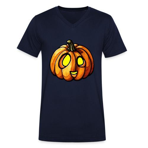 Pumpkin Halloween watercolor scribblesirii - Økologisk Stanley & Stella T-shirt med V-udskæring til herrer