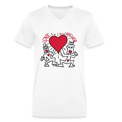 Love is the Answer by Oliver Schibli - Men's Organic V-Neck T-Shirt by Stanley & Stella