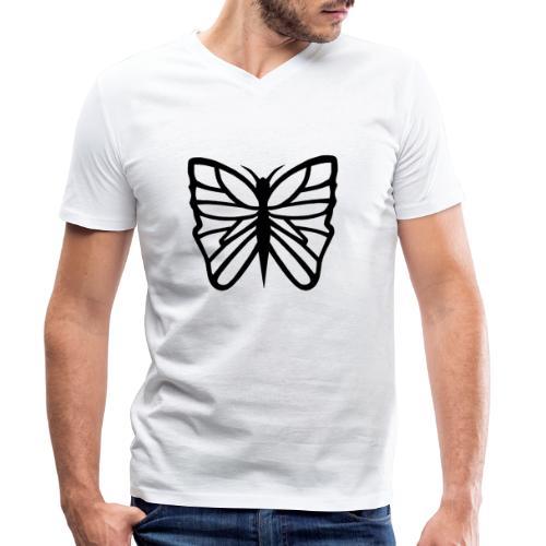Avancerat fjärilsmotiv. - Ekologisk T-shirt med V-ringning herr från Stanley & Stella