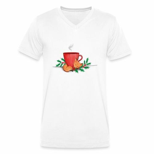 Świąteczny lisek - Ekologiczna koszulka męska z dekoltem w serek Stanley & Stella