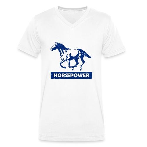 Galoppierendes Pferd Horsepower (Blau) - Männer Bio-T-Shirt mit V-Ausschnitt von Stanley & Stella