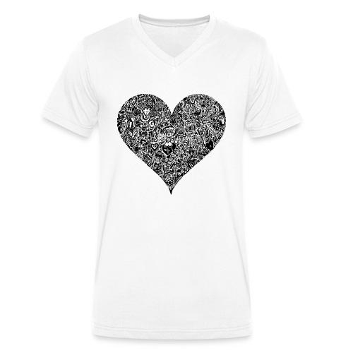 Herz Doodle Style - Männer Bio-T-Shirt mit V-Ausschnitt von Stanley & Stella