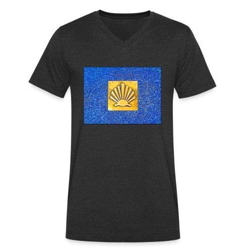 Scallop Shell Camino de Santiago - Men's Organic V-Neck T-Shirt by Stanley & Stella