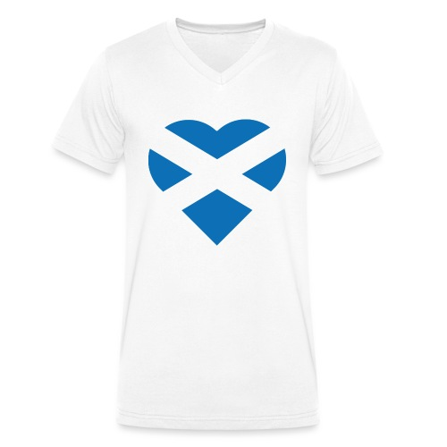 Flag of Scotland - The Saltire - heart shape - Men's Organic V-Neck T-Shirt by Stanley & Stella