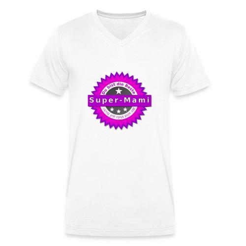 Badge Super-Mami - Männer Bio-T-Shirt mit V-Ausschnitt von Stanley & Stella