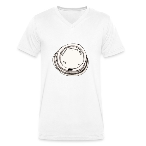 CAUTION CONTENTS HOT - Männer Bio-T-Shirt mit V-Ausschnitt von Stanley & Stella