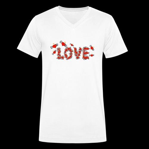 Flying Hearts LOVE - Økologisk Stanley & Stella T-shirt med V-udskæring til herrer