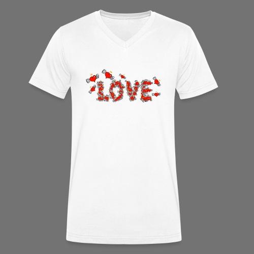 Latające miłości serc - Ekologiczna koszulka męska z dekoltem w serek Stanley & Stella