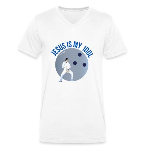 Jesus is my idol - T-shirt ecologica da uomo con scollo a V di Stanley & Stella