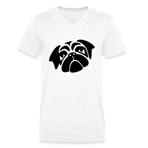 Mops mit schiefen Gesicht - Männer Bio-T-Shirt mit V-Ausschnitt von Stanley & Stella
