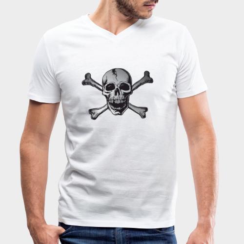 CALAVERA PIRATA PLATA - Camiseta ecológica hombre con cuello de pico de Stanley & Stella