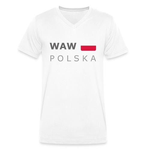 WAW POLSKA dark-lettered 400 dpi - Men's Organic V-Neck T-Shirt by Stanley & Stella