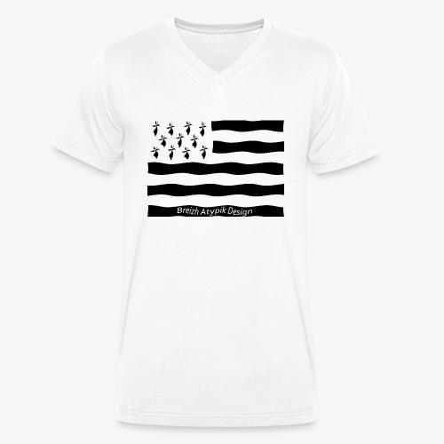 Gwenn ha Du-Noir fond transparent - T-shirt bio col V Stanley & Stella Homme
