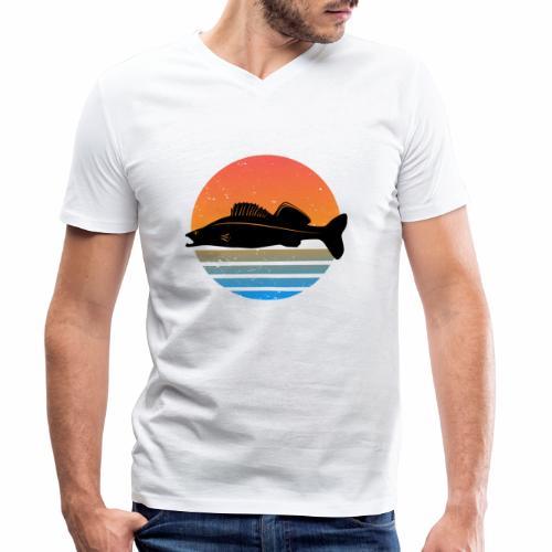 Retro Zander Angel Angler Raubfisch Geschenk Fisch - Männer Bio-T-Shirt mit V-Ausschnitt von Stanley & Stella