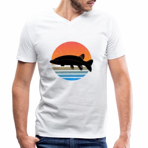 Retro Hecht Angeln Fisch Wurm Angler Raubfisch - Männer Bio-T-Shirt mit V-Ausschnitt von Stanley & Stella