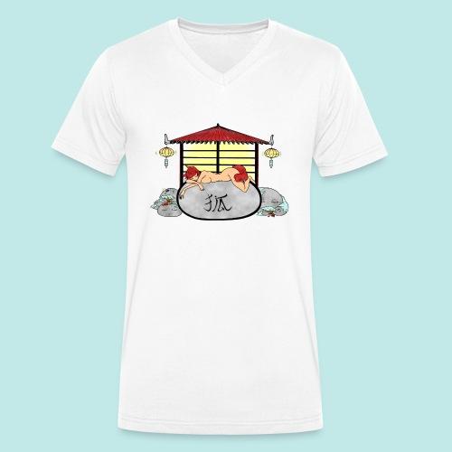 Déesse renard Inari jardin zen temple japonais - T-shirt bio col V Stanley & Stella Homme