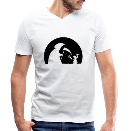 Hase Kaninchen Möhre Tod Sensenmann Karotte bunny - Männer Bio-T-Shirt mit V-Ausschnitt von Stanley & Stella