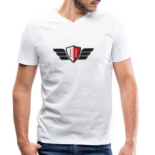 Flying Valais - Walliser Flagge mit Flügeln - Männer Bio-T-Shirt mit V-Ausschnitt von Stanley & Stella