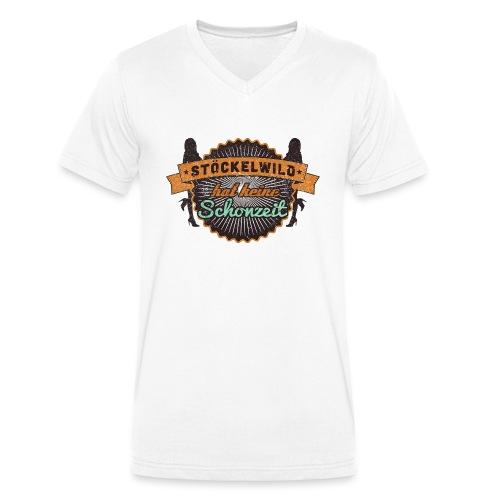 Stöckelwild Retro Badge - Männer Bio-T-Shirt mit V-Ausschnitt von Stanley & Stella