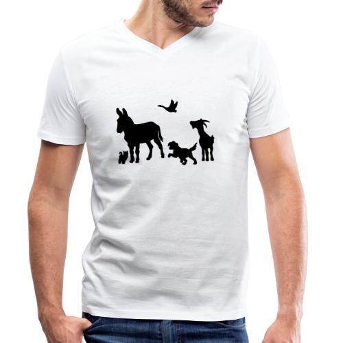 Logo - Tiere im Einklang - Männer Bio-T-Shirt mit V-Ausschnitt von Stanley & Stella