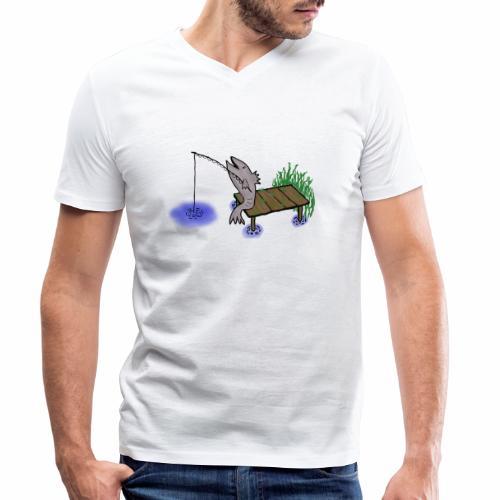 Fisch, Angler,Teich - Männer Bio-T-Shirt mit V-Ausschnitt von Stanley & Stella