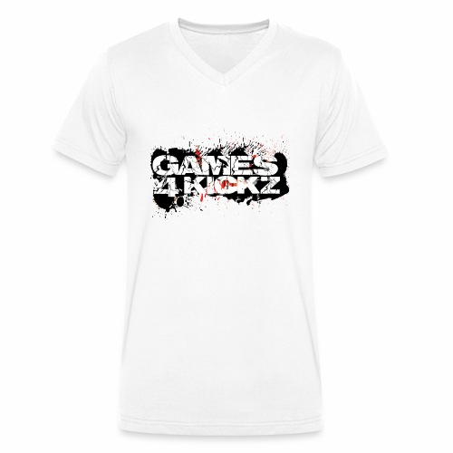 Games4Kickz Logo Splattered Background - Men's Organic V-Neck T-Shirt by Stanley & Stella