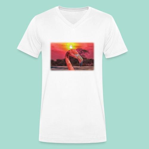 Rosa Flamingo - Männer Bio-T-Shirt mit V-Ausschnitt von Stanley & Stella