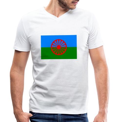 Flag of the Romani people - Ekologisk T-shirt med V-ringning herr från Stanley & Stella