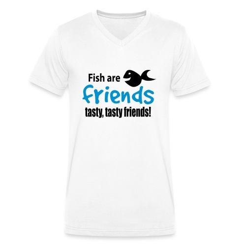 Fisk er venner - Økologisk T-skjorte med V-hals for menn fra Stanley & Stella