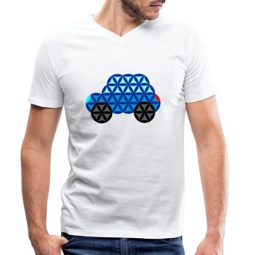 The Car Of Life - 01, Sacred Shapes, Blue. - Men's Organic V-Neck T-Shirt by Stanley & Stella