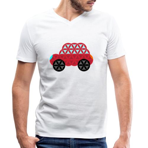 The Car Of Life - M01, Sacred Shapes, Red/186 - Men's Organic V-Neck T-Shirt by Stanley & Stella